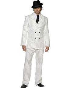 Kostuum gangster wit voor mannen